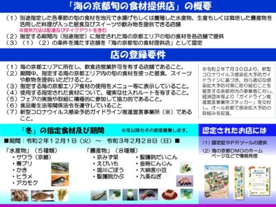 【お知らせ】冬期の「海の京都旬の食材フェア」にかかる「海の京都旬の食材提供店」の募集について