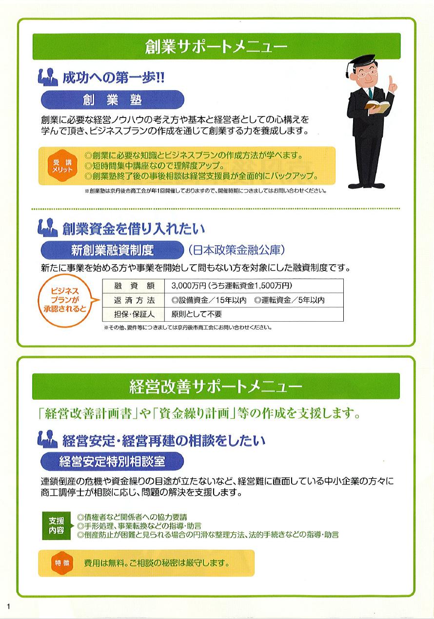 金融パンフレット1 サポートメニュー