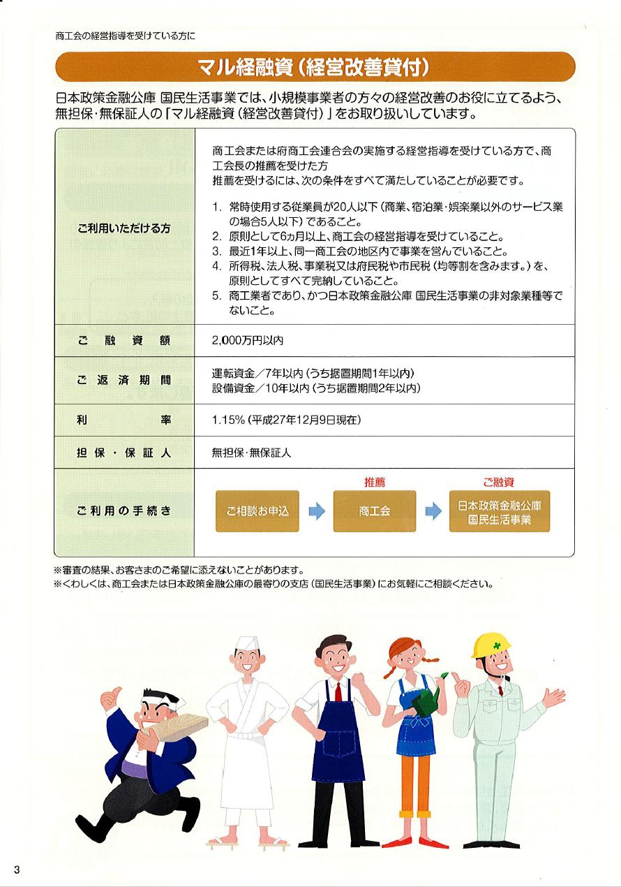 金融パンフレット3 マル経融資(経営改善貸付)