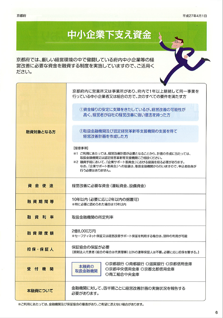 金融パンフレット6 中小企業下支え資金