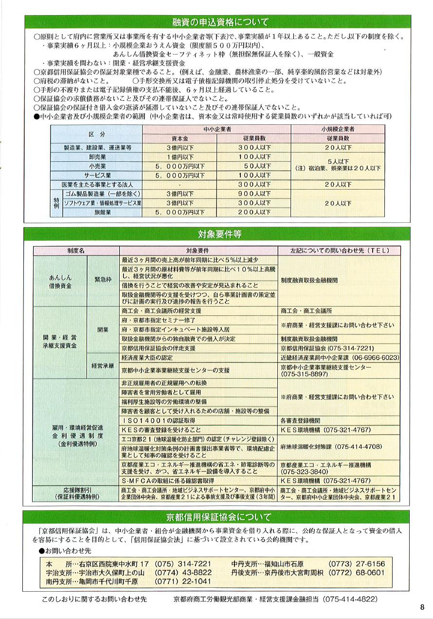 金融パンフレット8 京都府中小企業金融のしおり2